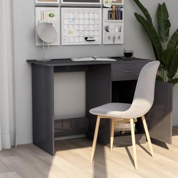 Radni stol visoki sjaj sivi 100 x 50 x 76 cm od iverice