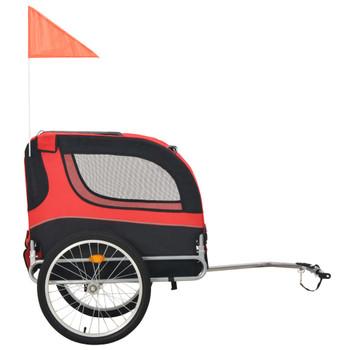 Prikolica za bicikl za psa crveno-crna