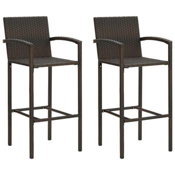 vidaXL Barski stolci od poliratana 2 kom smeđi