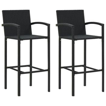 vidaXL Barski stolci od poliratana 2 kom crni