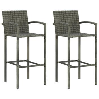 vidaXL Barski stolci od poliratana 2 kom sivi