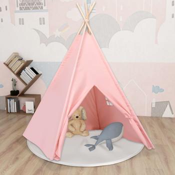 vidaXL Dječji šator tipi od breskvine kore ružičasti 120x120x150 cm