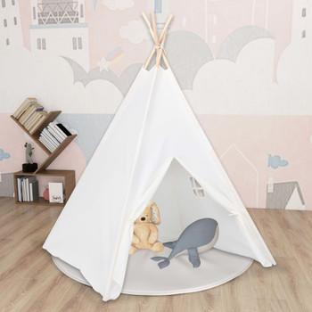 vidaXL Dječji šator tipi od breskvine kore bijeli 120 x 120 x 150 cm