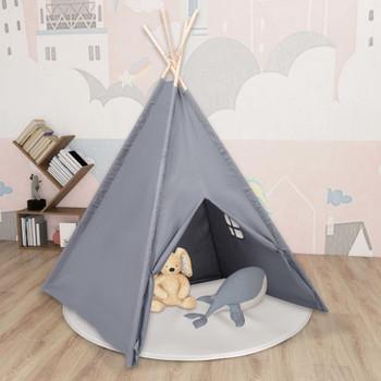 vidaXL Dječji šator tipi od breskvine kore sivi 120 x 120 x 150 cm