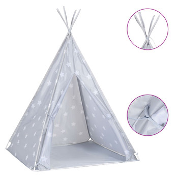 vidaXL Dječji šator tipi od poliestera s torbom sivi 115x115x160 cm
