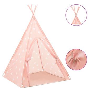 vidaXL Dječji šator tipi od poliestera ružičasti 115 x 115 x 160 cm