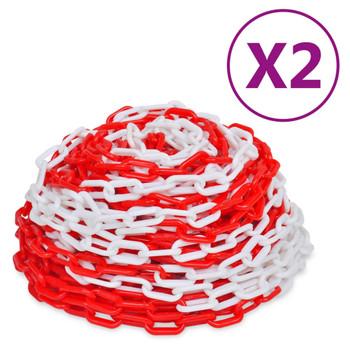 vidaXL Lanci za upozorenje 2 kom crveno-bijeli plastični 30 m