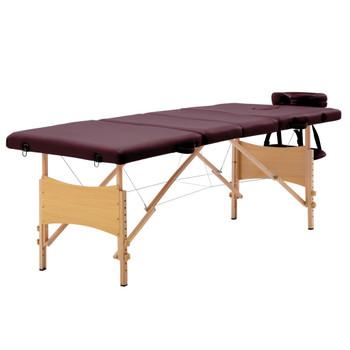 vidaXL Sklopivi masažni stol s 4 zone drveni ljubičasta boja vina
