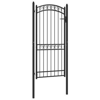 vidaXL Vrata za ogradu s lučnim vrhom čelična 100 x 200 cm crna