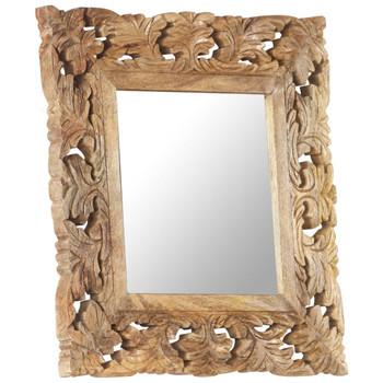 vidaXL Ručno izrezbareno ogledalo smeđe 50 x 50 cm masivno drvo manga