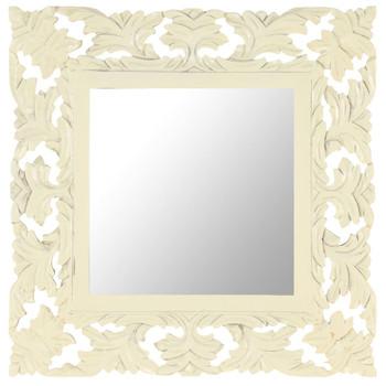 vidaXL Ručno izrezbareno ogledalo bijelo 50 x 50 cm masivno drvo manga