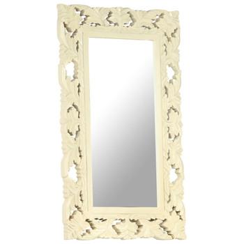 vidaXL Ručno izrezbareno ogledalo bijelo 80 x 50 cm masivno drvo manga