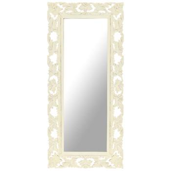 vidaXL Ručno izrezbareno ogledalo bijelo 110x50 cm masivno drvo manga