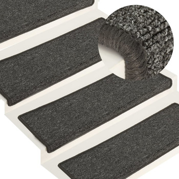vidaXL Tepisi za stepenice 15 kom 65 x 25 cm sivo-crni