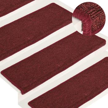 vidaXL Tepisi za stepenice 15 kom 65 x 25 cm mat crveni
