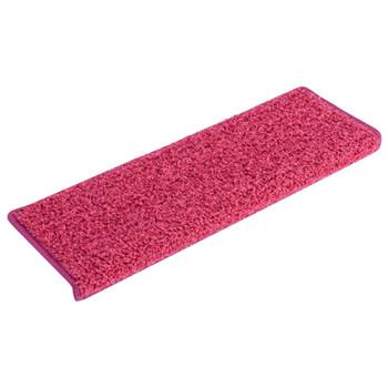 vidaXL Tepisi za stepenice 15 kom 65 x 25 cm ružičasti