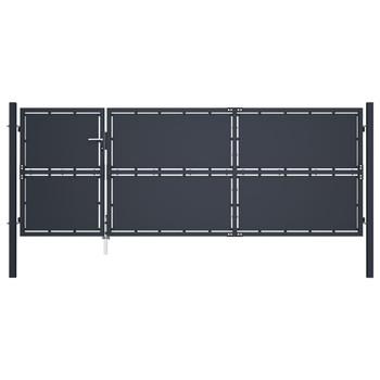 vidaXL Vrtna vrata čelična 350 x 125 cm antracit