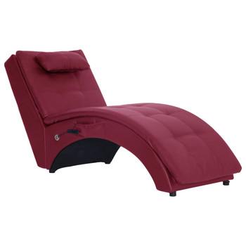 vidaXL Masažni ležaj od umjetne kože s jastukom crvena boja vina
