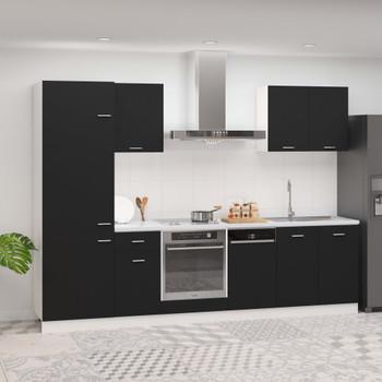 vidaXL 7-dijelni set kuhinjskih ormarića crni od iverice