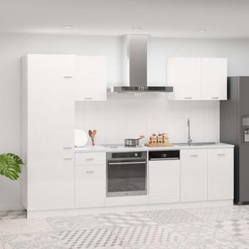 vidaXL 7-dijelni set kuhinjskih ormarića visoki sjaj bijeli od iverice