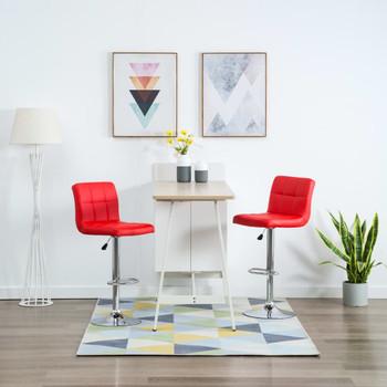 vidaXL Barski stolci od umjetne kože 2 kom crveni