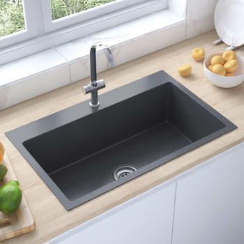 vidaXL Ručno rađeni kuhinjski sudoper crni od nehrđajućeg čelika