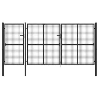 vidaXL Vrtna vrata čelična 400 x 175 cm antracit