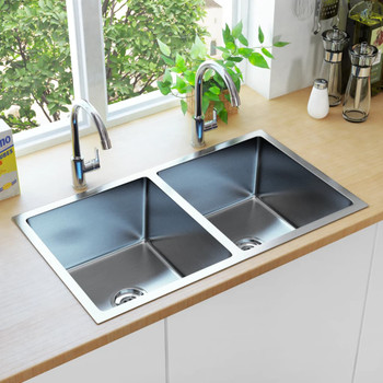 vidaXL Ručno rađeni kuhinjski sudoper s cjedilom od nehrđajućeg čelika