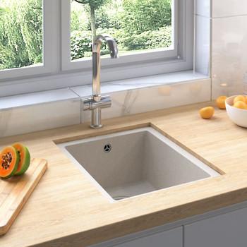 vidaXL Kuhinjski sudoper s otvorom protiv prelijevanja bež granitni