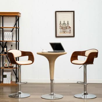 vidaXL Barski stolci od savijenog drva i umjetne kože 2 kom krem