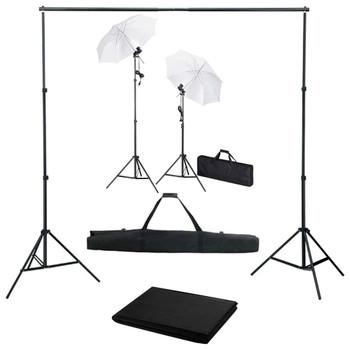 vidaXL Fotografska oprema s pozadinom, svjetiljkama i kiÃ…Â¡obranima