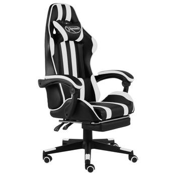 vidaXL Igraća stolica od umjetne kože s osloncem za noge crno-bijela