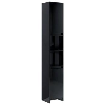 vidaXL Kupaonski ormarić visoki sjaj crni 30 x 30 x 183,5 cm iverica