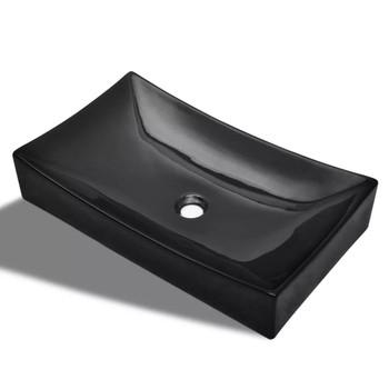 Keramički Kupaonski Umivaonik Crni Pravokutni