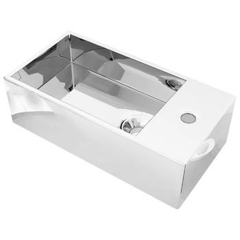 vidaXL Umivaonik protiv prelijevanja 49 x 25 x 15 cm keramički srebrni