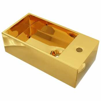 vidaXL Umivaonik protiv prelijevanja 49 x 25 x 15 cm keramički zlatni