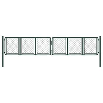 vidaXL Vrtna vrata čelična 400 x 75 cm zelena