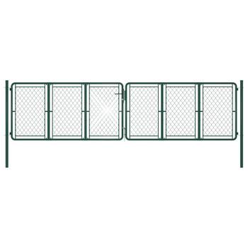 vidaXL Vrtna vrata čelična 400 x 100 cm zelena