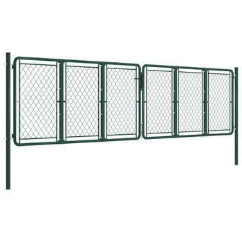vidaXL Vrtna vrata čelična 400 x 125 cm zelena