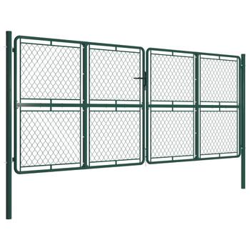 vidaXL Vrtna vrata čelična 400 x 150 cm zelena