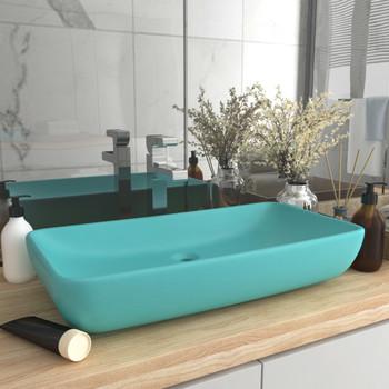 vidaXL Luksuzni pravokutni umivaonik mat zeleni 71 x 38 cm keramički
