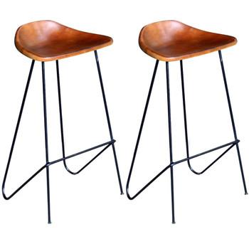 vidaXL Barske stolice od prave kože 2 kom crno smeđe