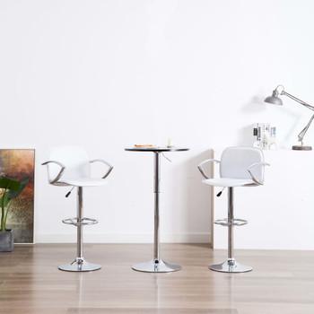 vidaXL Barske stolice s naslonima za ruke od umjetne kože 2 kom bijele