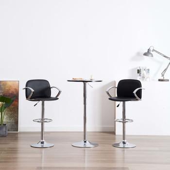 vidaXL Barske stolice s naslonima za ruke od umjetne kože 2 kom crne