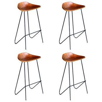 vidaXL Barske stolice od prave kože 4 kom smeđe