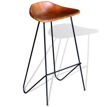 vidaXL Barske stolice od prave kože 6 kom smeđe