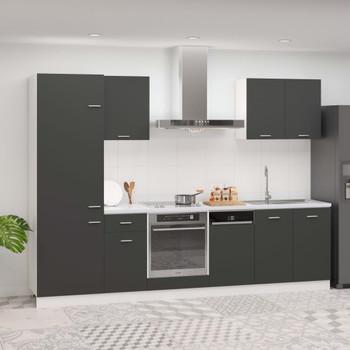 vidaXL 7-dijelni set kuhinjskih ormarića sivi od iverice