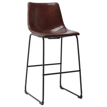 vidaXL Barski stolac od umjetne kože sjajni smeđi