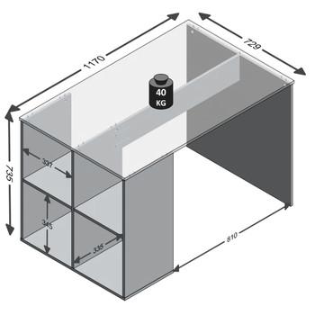 FMD radni stol s bočnim policama 117 x 72,9 x 73,5 cm bijeli
