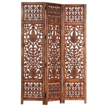 vidaXL Sobna pregrada s 3 panela smeđa 120 x 165 cm masivno drvo manga